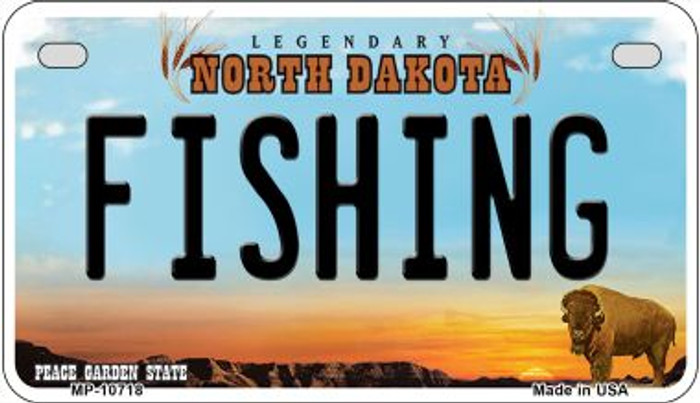 Fishing North Dakota Wholesale Novelty Metal Motorcycle Plate MP-10718