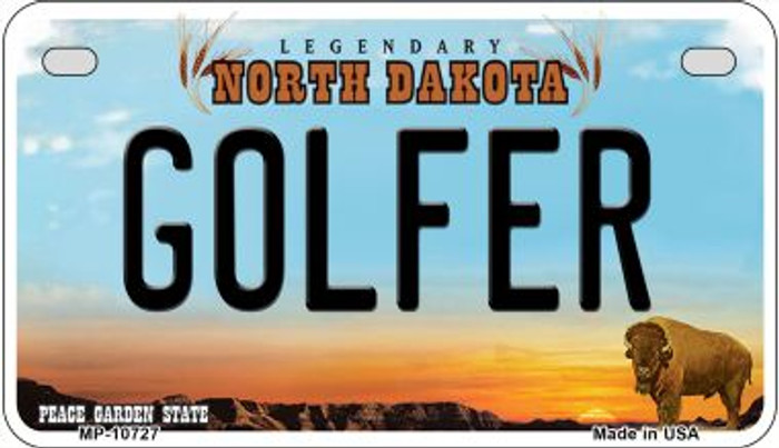 Golfer North Dakota Wholesale Novelty Metal Motorcycle Plate MP-10727