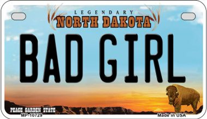 Bad Girl North Dakota Wholesale Novelty Metal Motorcycle Plate MP-10729