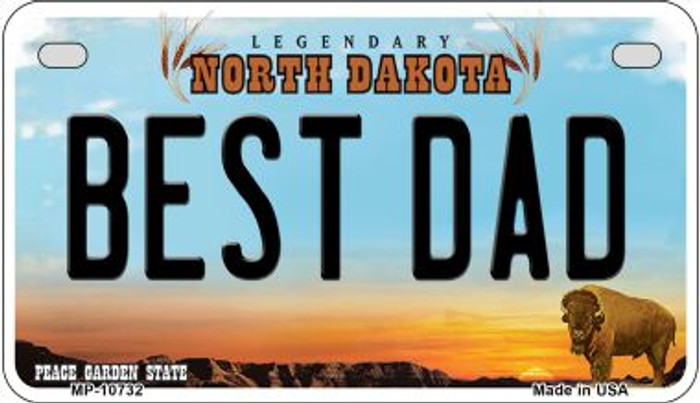 Best Dad North Dakota Wholesale Novelty Metal Motorcycle Plate MP-10732