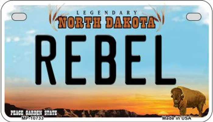 Rebel North Dakota Wholesale Novelty Metal Motorcycle Plate MP-10733