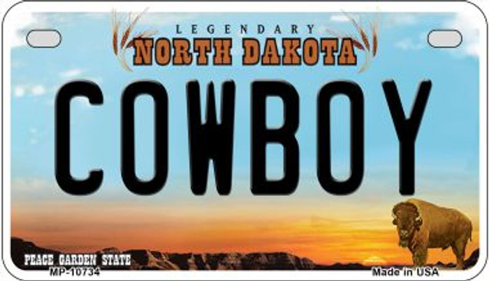 Cowboy North Dakota Wholesale Novelty Metal Motorcycle Plate MP-10734