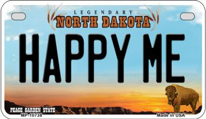 Happy Me North Dakota Wholesale Novelty Metal Motorcycle Plate MP-10738