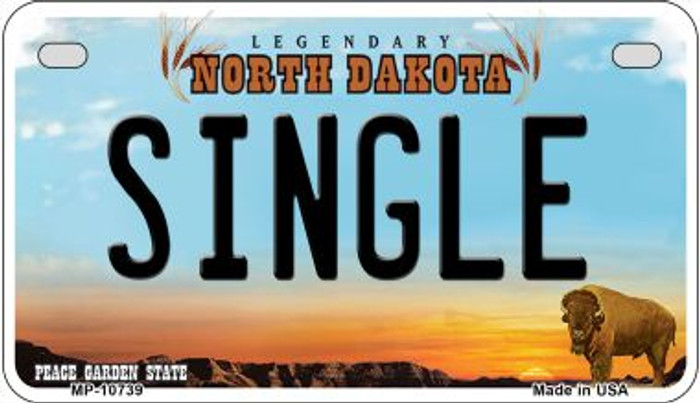 Single North Dakota Wholesale Novelty Metal Motorcycle Plate MP-10739