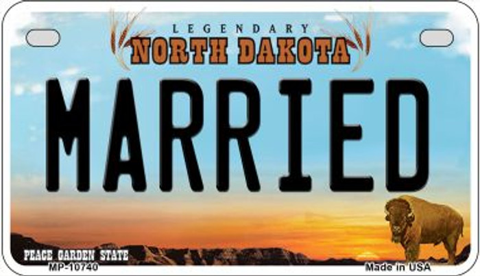Married North Dakota Wholesale Novelty Metal Motorcycle Plate MP-10740