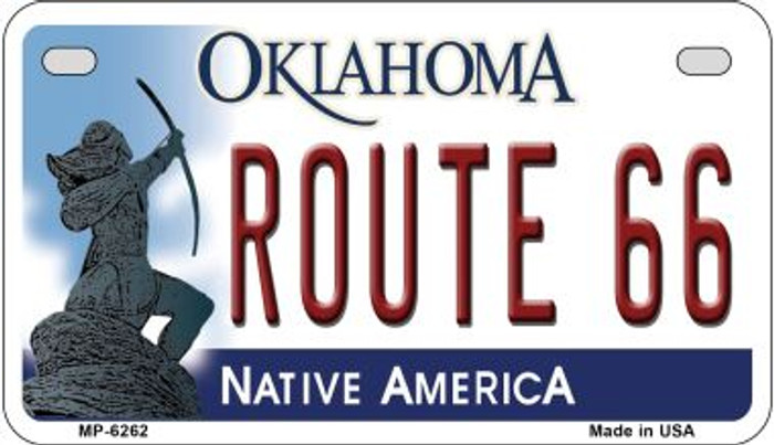 Route 66 Oklahoma Wholesale Novelty Metal Motorcycle Plate MP-6262