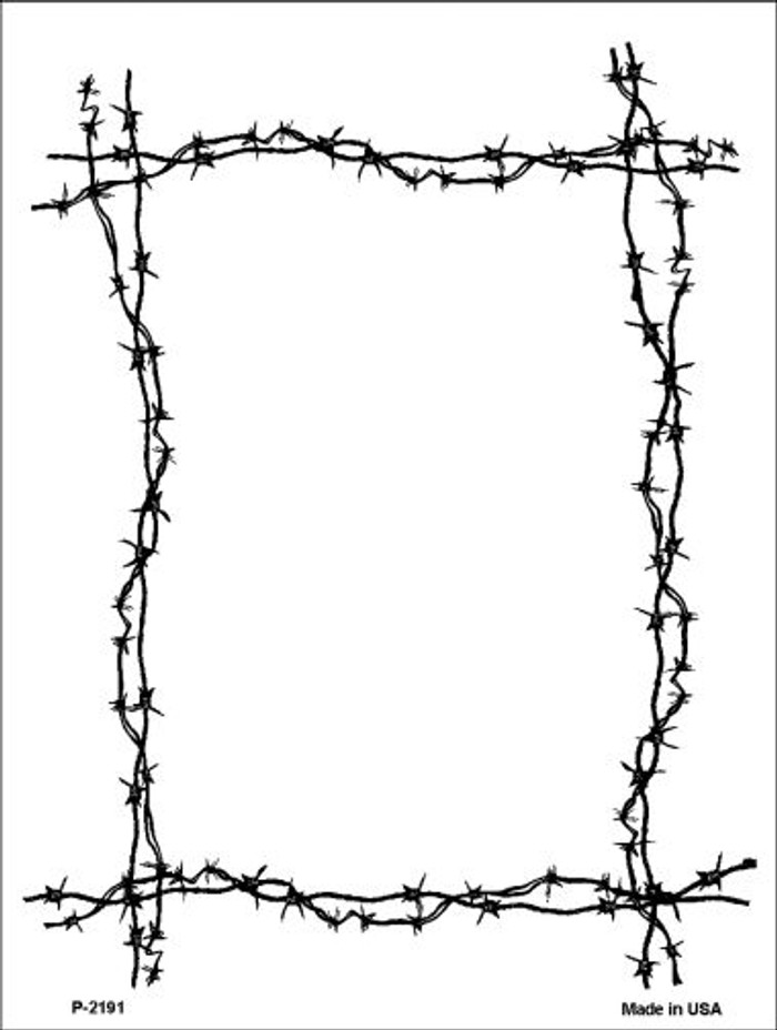 Black Barbed Wire Border Wholesale Metal Novelty Parking Sign P-2191