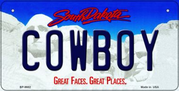 Cowboy South Dakota Wholesale Novelty Metal Bicycle Plate BP-9982