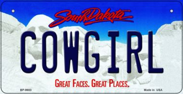 Cowgirl South Dakota Wholesale Novelty Metal Bicycle Plate BP-9983