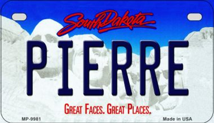 Pierre South Dakota Wholesale Novelty Metal Motorcycle Plate MP-9981