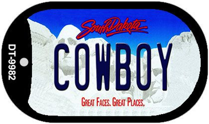 Cowboy South Dakota Wholesale Novelty Metal Dog Tag Necklace DT-9982