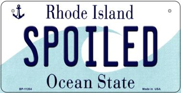 Spoiled Rhode Island Wholesale Novelty Metal Bicycle Plate BP-11204