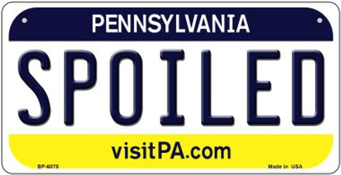 Spoiled Pennsylvania Wholesale Novelty Metal Bicycle Plate BP-6075