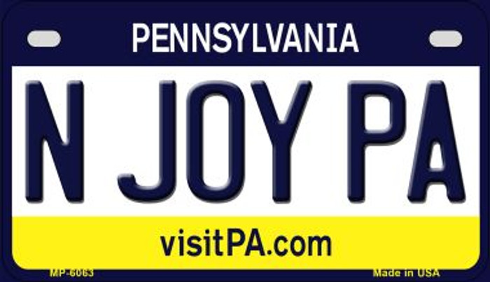 N Joy PA Pennsylvania Wholesale Novelty Metal Motorcycle Plate MP-6063