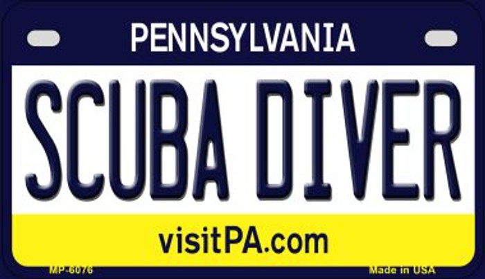 Scuba Diver Pennsylvania Wholesale Novelty Metal Motorcycle Plate MP-6076