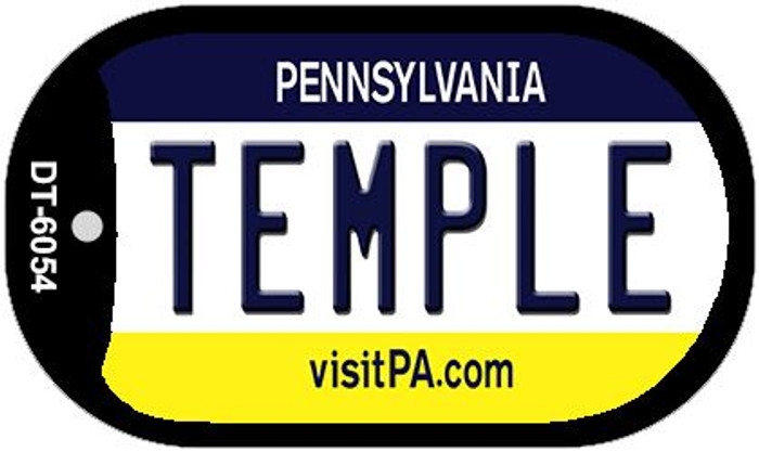Temple Pennsylvania Wholesale Novelty Metal Dog Tag Necklace DT-6054