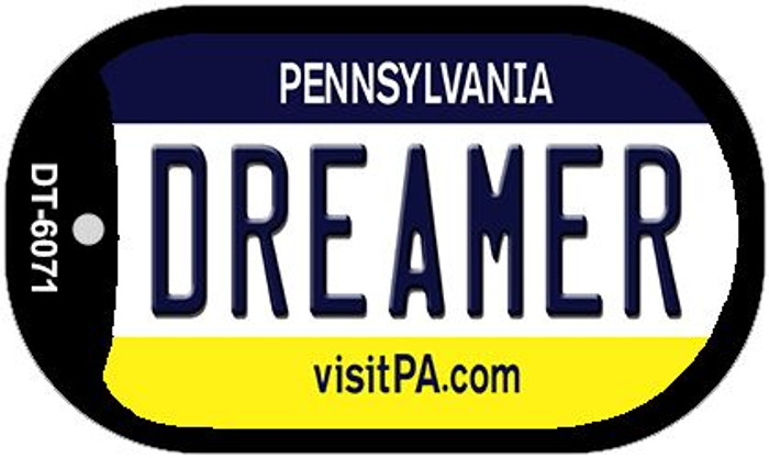 Dreamer Pennsylvania Wholesale Novelty Metal Dog Tag Necklace DT-6071