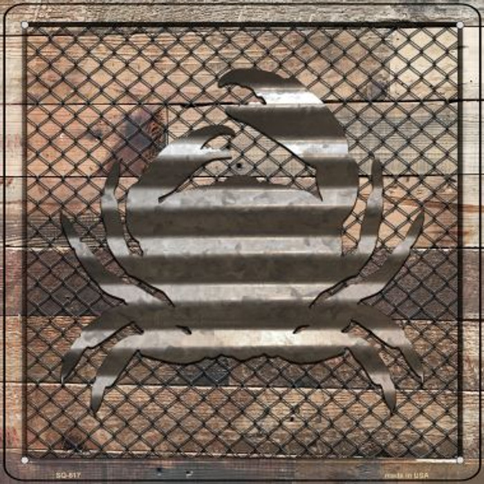 Corrugated Crab on Wood Wholesale Novelty Metal Square Sign SQ-617