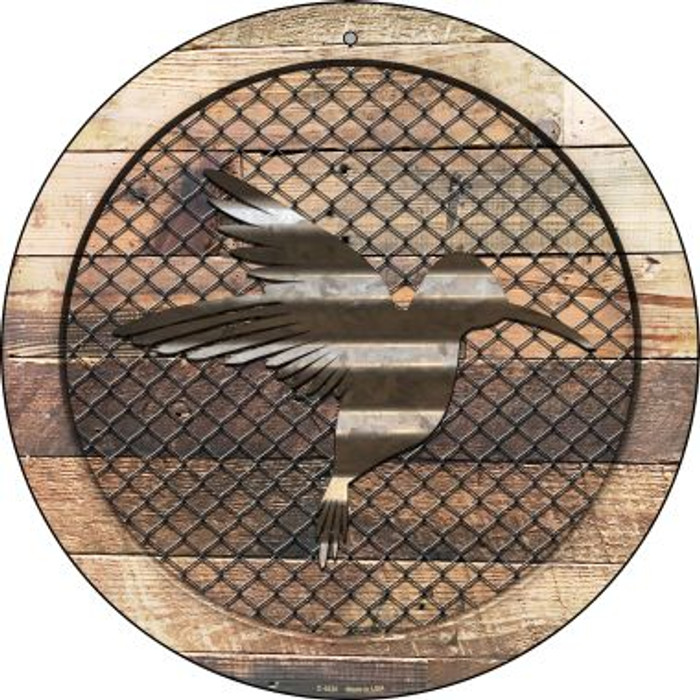 Corrugated Hummingbird on Wood Wholesale Novelty Metal Circular Sign C-1025