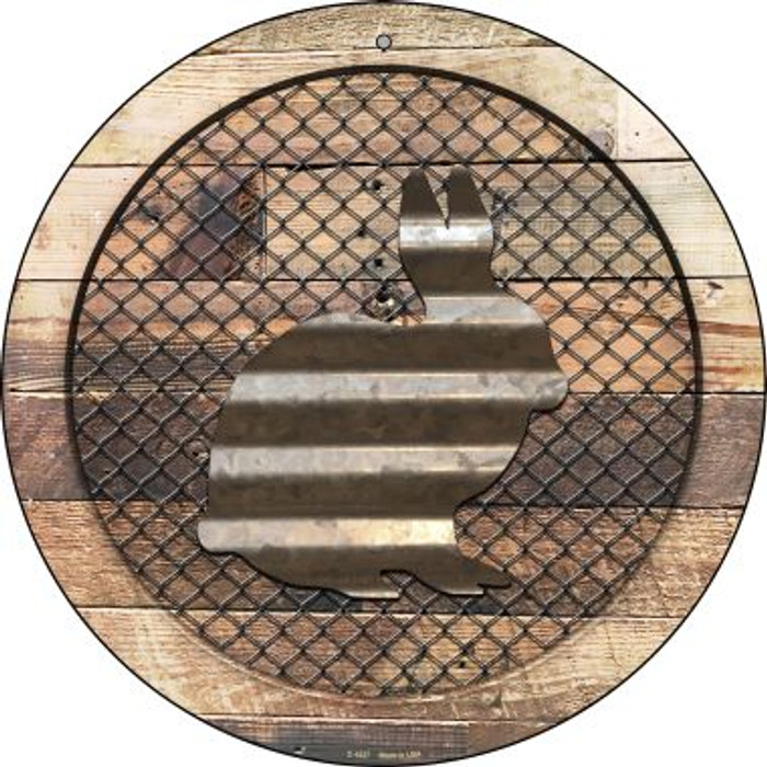 Corrugated Rabbit on Wood Wholesale Novelty Metal Circular Sign C-1027