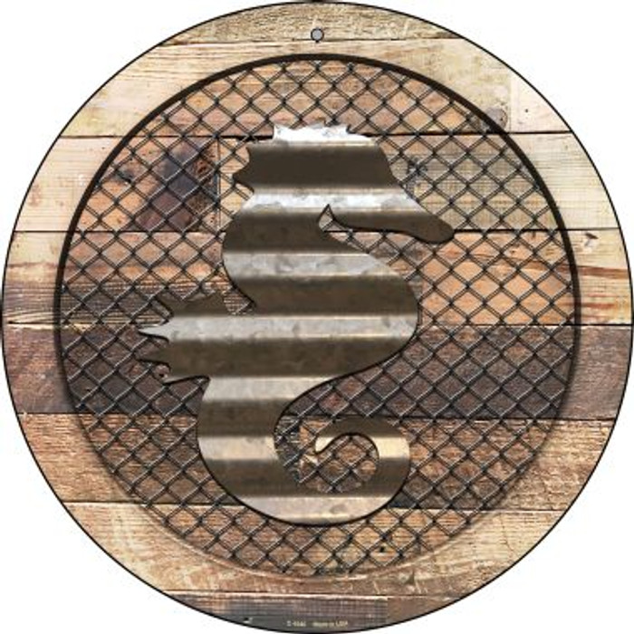 Corrugated Seahorse on Wood Wholesale Novelty Metal Circular Sign C-1040
