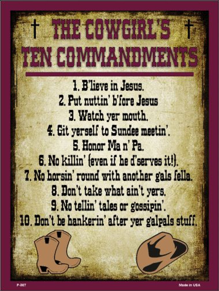 Cowgirls Ten Commandments Vertical Wholesale Metal Novelty Parking Sign P-307