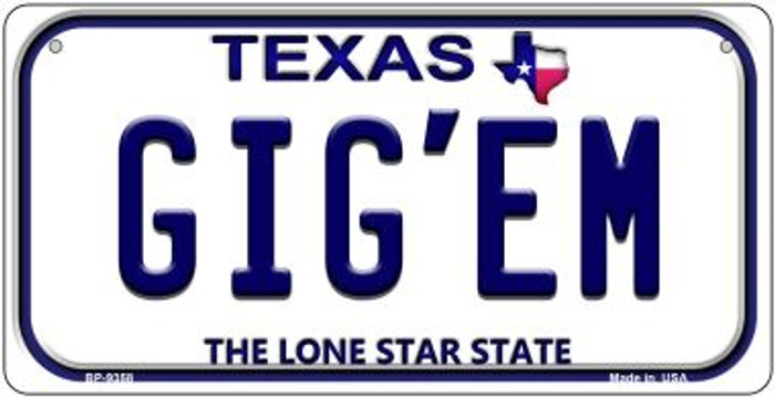 Gig'em Texas Wholesale Novelty Metal Bicycle Plate BP-9358