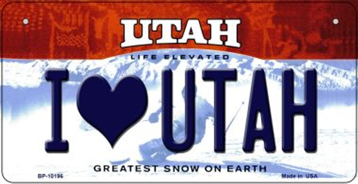 I Love Utah Wholesale Novelty Metal Bicycle Plate BP-10196