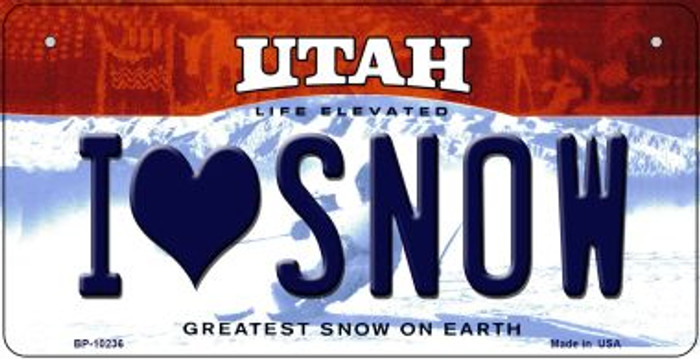 I Love Snow Utah Wholesale Novelty Metal Bicycle Plate BP-10236