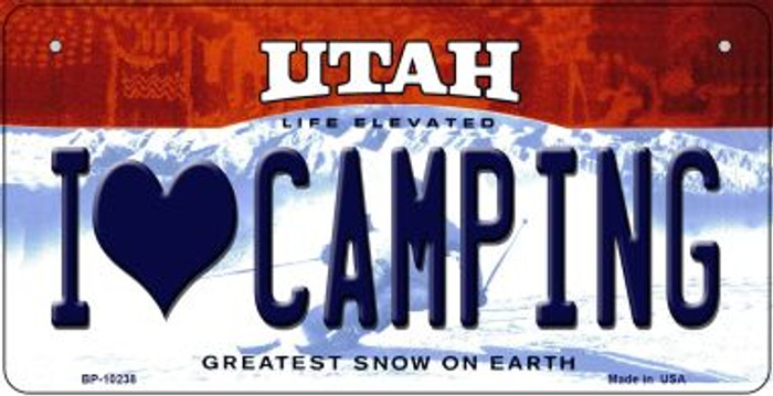 I Love Camping Utah Wholesale Novelty Metal Bicycle Plate BP-10238
