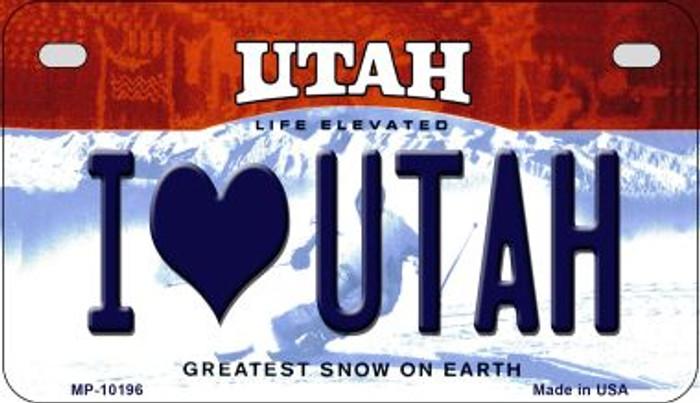I Love Utah Wholesale Novelty Metal Motorcycle Plate MP-10196