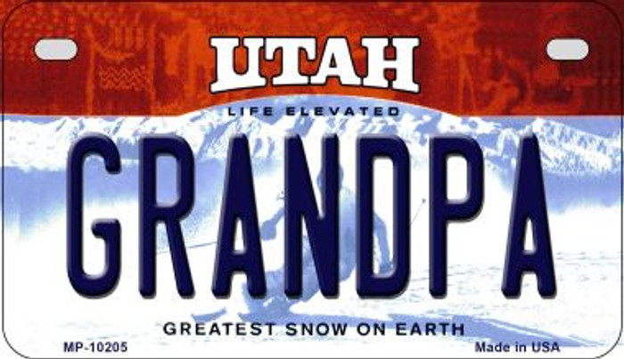Grandpa Utah Wholesale Novelty Metal Motorcycle Plate MP-10205