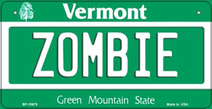 Zombie Vermont Wholesale Novelty Metal Bicycle Plate BP-10679
