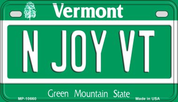 N Joy VT Vermont Wholesale Novelty Metal Motorcycle Plate MP-10660