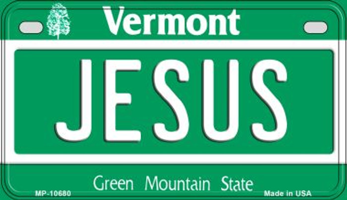 Jesus Vermont Wholesale Novelty Metal Motorcycle Plate MP-10680