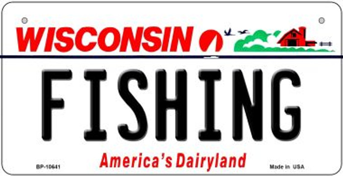 Fishing Wisconsin Wholesale Novelty Metal Bicycle Plate BP-10641