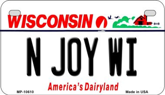 N Joy WI Wisconsin Wholesale Novelty Metal Motorcycle Plate MP-10610