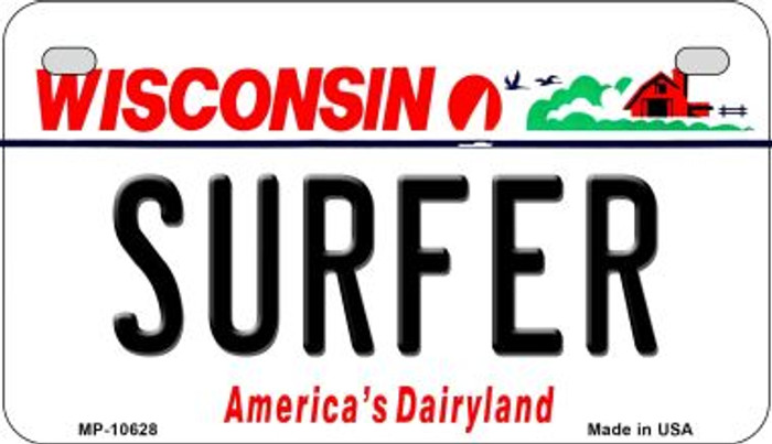 Surfer Wisconsin Wholesale Novelty Metal Motorcycle Plate MP-10628