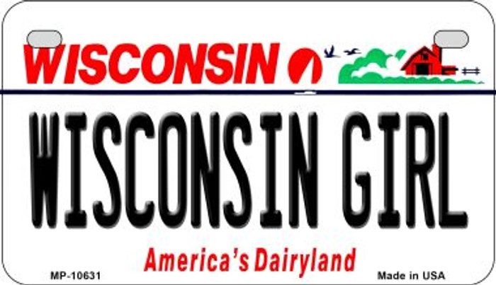 Wisconsin Girl Wisconsin Wholesale Novelty Metal Motorcycle Plate MP-10631