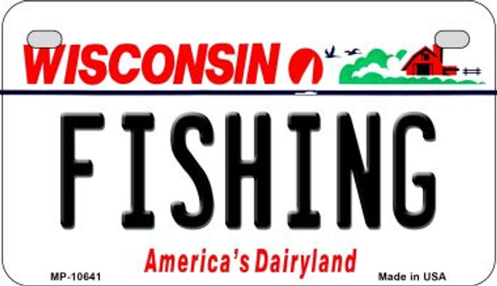 Fishing Wisconsin Wholesale Novelty Metal Motorcycle Plate MP-10641