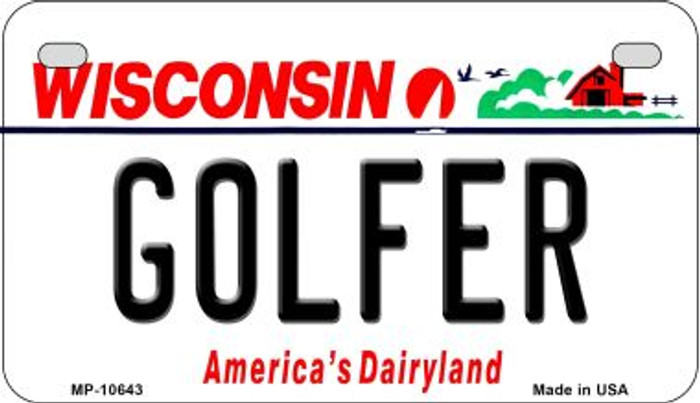 Golfer Wisconsin Wholesale Novelty Metal Motorcycle Plate MP-10643