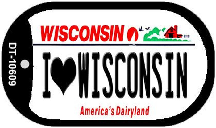 I Love Wisconsin Wholesale Novelty Metal Dog Tag Necklace DT-10609