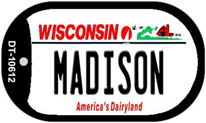 Madison Wisconsin Wholesale Novelty Metal Dog Tag Necklace DT-10612
