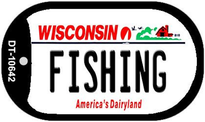 Fishing Wisconsin Wholesale Novelty Metal Dog Tag Necklace DT-10641
