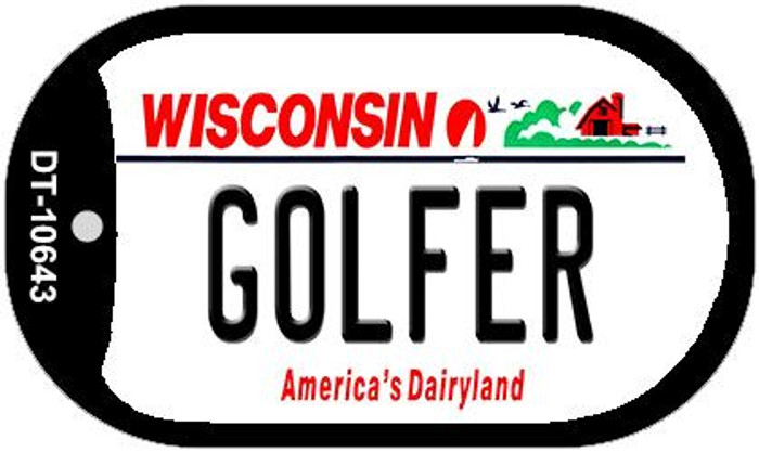Golfer Wisconsin Wholesale Novelty Metal Dog Tag Necklace DT-10643