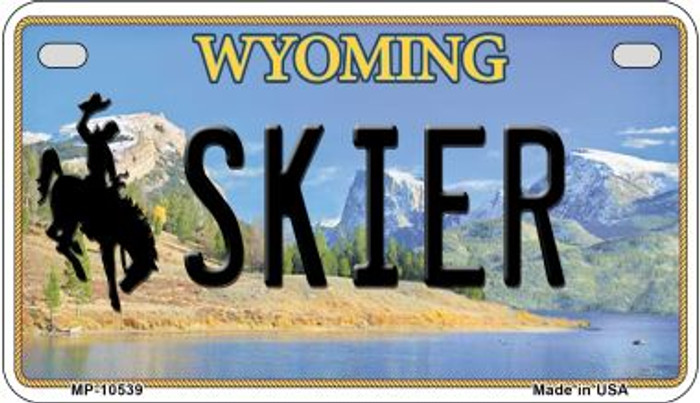 Skier Wyoming Wholesale Novelty Metal Motorcycle Plate MP-10539