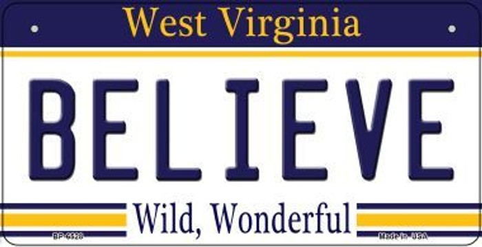 Believe West Virginia Wholesale Novelty Metal Bicycle Plate BP-6528