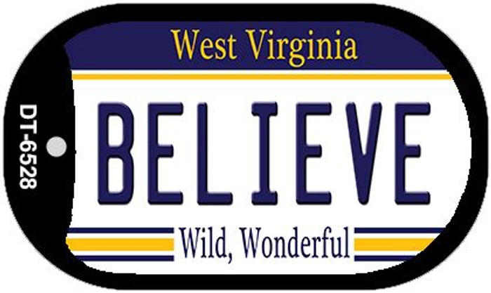 Believe West Virginia Wholesale Novelty Metal Dog Tag Necklace DT-6528