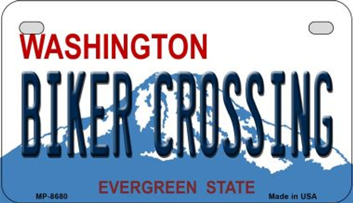 Biker Crossing Washington Wholesale Novelty Metal Motorcycle Plate MP-8680