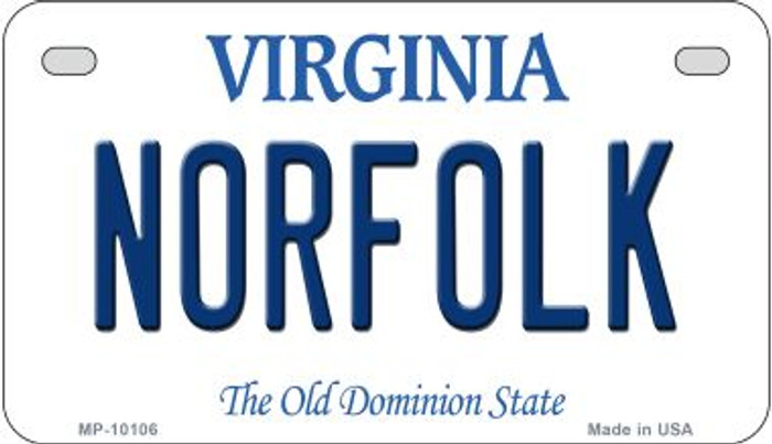 Norfolk Virginia Wholesale Novelty Metal Motorcycle Plate MP-10106